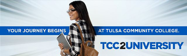 Young smiling tcc student. Text: Your Journey begins at Tulsa Community College. TCC2University