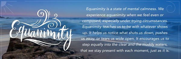 Equanimity is a state of mental calmness. We experience equanimity when we feel even or composed, especially under trying circumstances. Equanimity teaches us to be with whatever shows up. It helps us notice what shts us down, pushes us away, or tears us wide open. It encourages us to step equally into the clear and the muddy waters, that we stay present with each moment, just as it is.