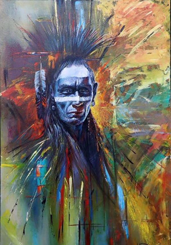 The Face of an indigenous person is painted in grey on a colorful loosly painted background.