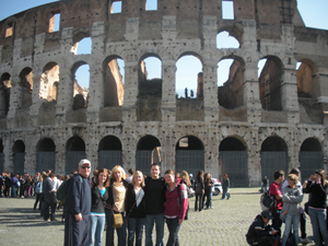 David and students in front of the Colosseum in Rome