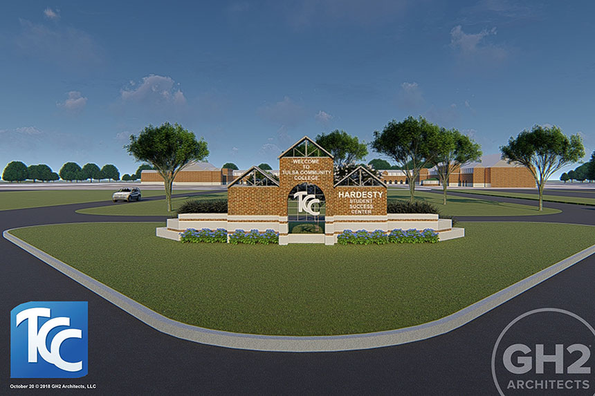 a rendering of the TCC welcome entry sign listing Hardesty Student Success Center