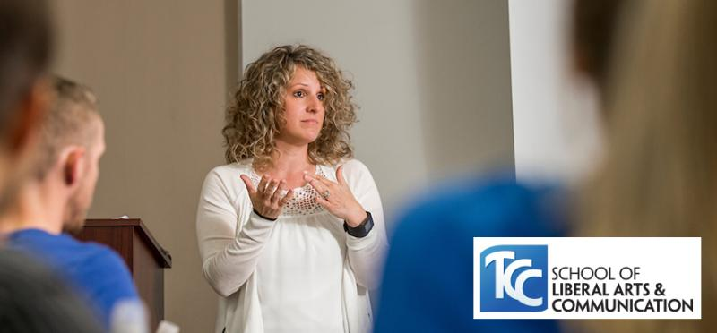 TCC Liberal Arts Faculty member leads classroom discussion.