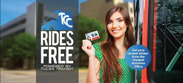 TCC Rides Free banner with student