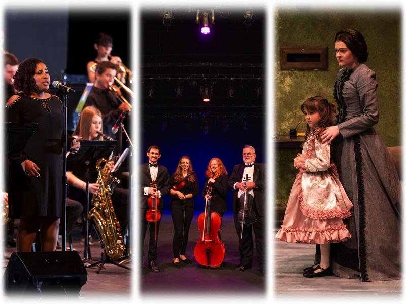Images of solo singer, string quartet, and child and adult actors.