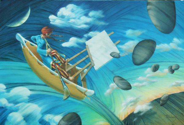 Whimsical painting of a woman in a canoe in the sky