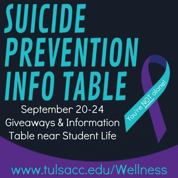 Suicide Awareness Info Table