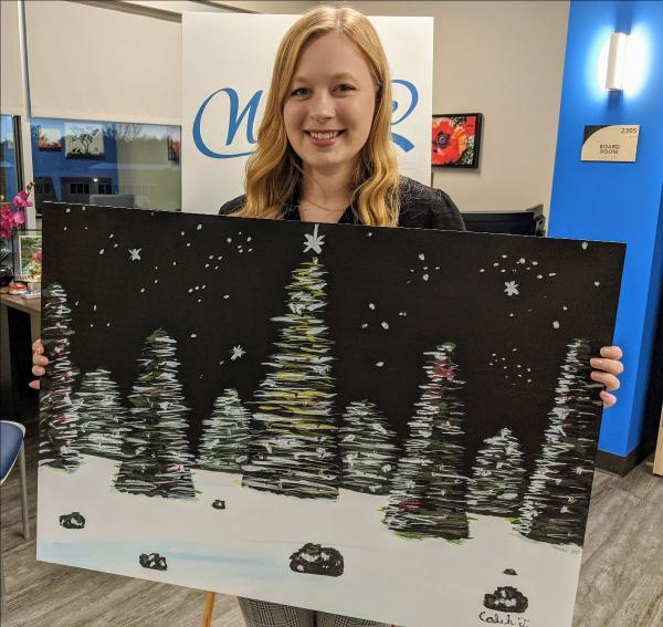 TCC student with 2019 holiday card design