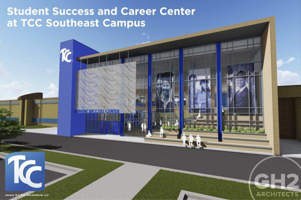 architecture rendering of student success and career center