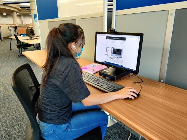 student at computer at Northeast Campus