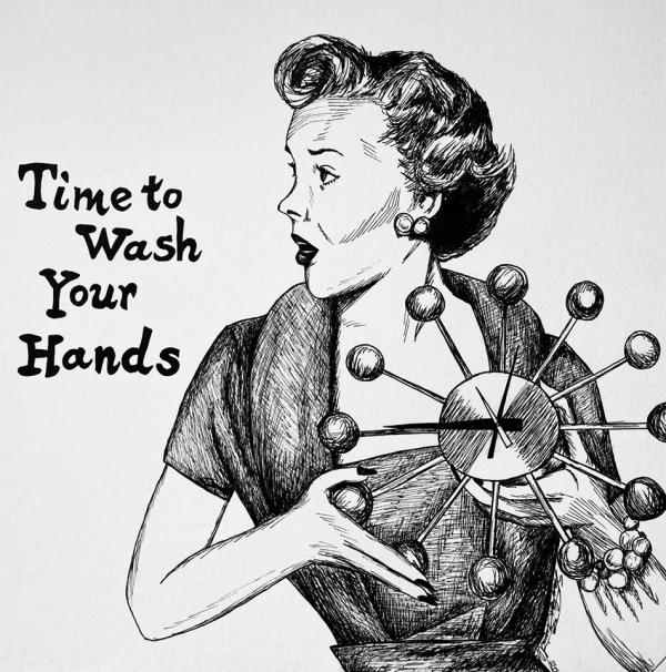 piece of artwork from exhibit showing woman with clock and text time to wash your hands