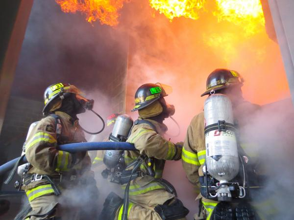 Firefighters with Tulsa Fire Department train at the Tulsa Fire Safety Training Center on the TCC Northeast Campus