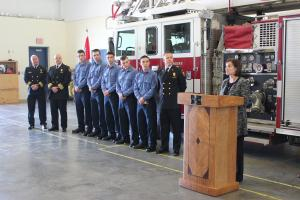 TCC President Leigh Goodson speaks during a news conference announcing Broken Arrow Fire partnership