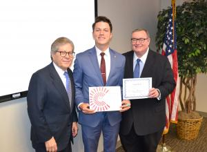 photo of TCC student Joseph Mason being recognized as a 2018 Newman Civic Fellow