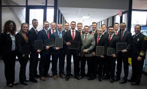 photo of 15 graduating TCC students from the Tulsa Regional Fire Academy