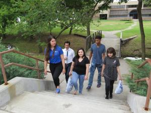 students walking outside on TCC Northeast Campus