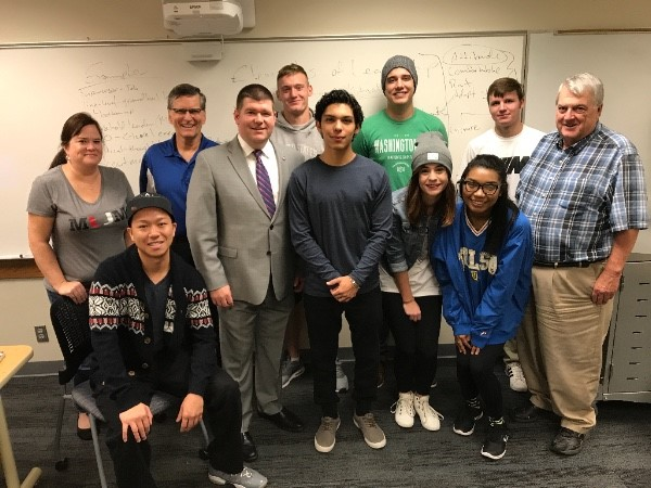 Tulsa County Clerk Michael Willis, a former TCC student, spoke to students in Dr. Bud Turman's Leadership Development class last week.