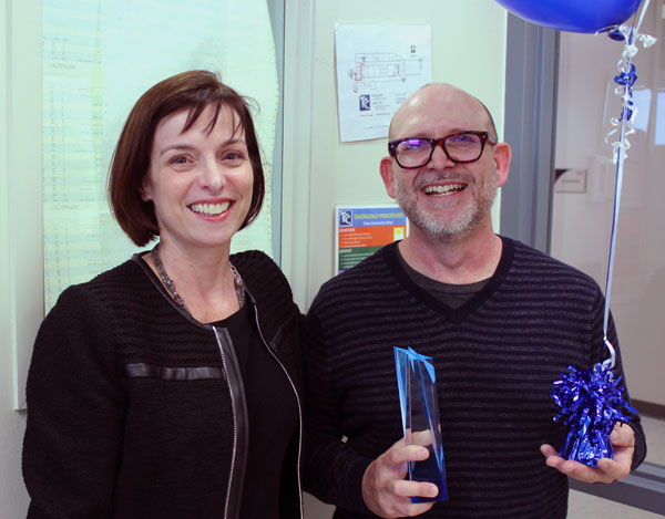Allen Culpepper, Assistant Professor of English and Co-advisor for TCC Pride, received the Good Job award from TCC President Leigh Goodson Thursday, Nov. 30